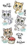 Tea Time Kittens Rubber Stamp