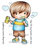 Blowing Bubbles Luka Rubber Stamp