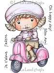 Marci on Scooter Rubber Stamp