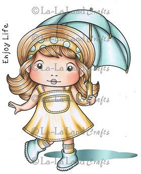 Dancing in the Rain Marci Rubber Stamp