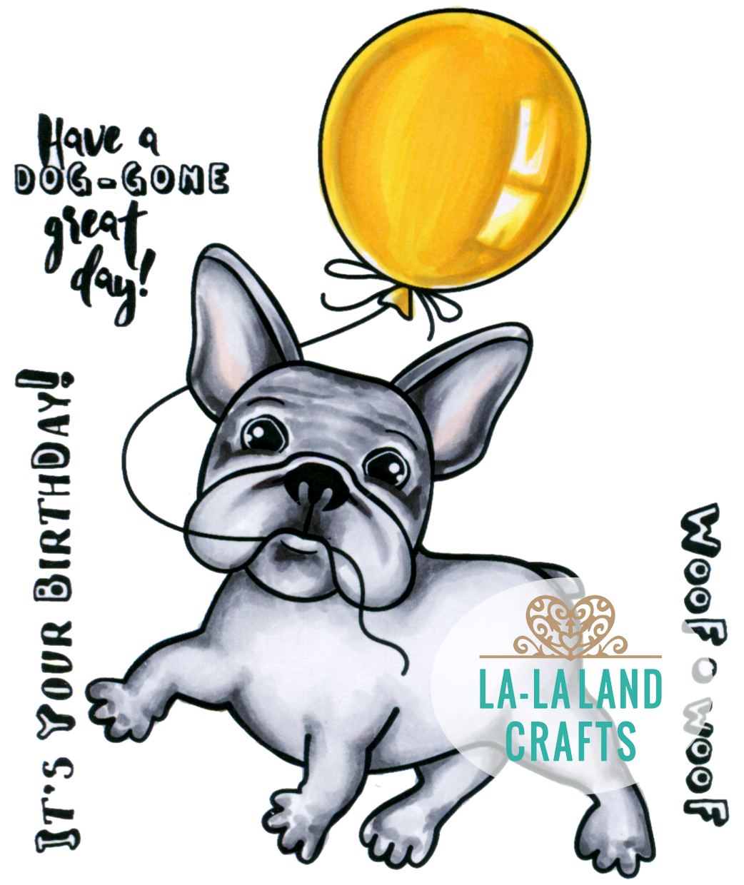 New La La Land Crafts CARRY ON FRENCHIE Cling Rubber Stamp Dog Puppy Buldog Poop