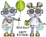 Birthday Robots Rubber Stamp