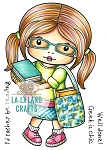Marci with Books Rubber Stamp