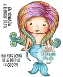 Sitting Mermaid Baby Marci Rubber Stamp