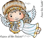 Angel Marci with Lyre Rubber Stamp