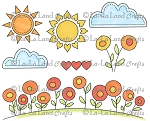 Sunny Day Background Elements Rubber Stamp