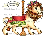 Carousel Lion Rubber Stamp