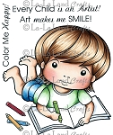 Luka with Crayons Rubber Stamp