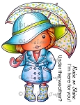 Marci with Umbrella Rubber Stamp