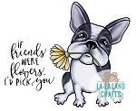Flower Frenchie Rubber Stamp