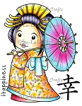Kimono Marci with Umbrella Rubber Stamp