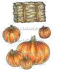 Haystack and Pumpkins Rubber Stamp