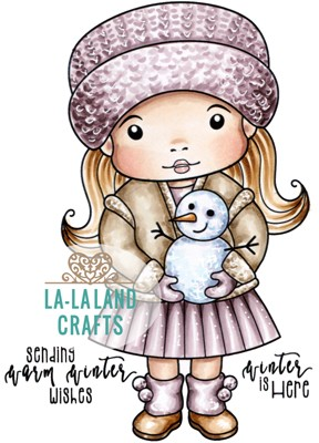 Marci with Snowman* Rubber Stamp