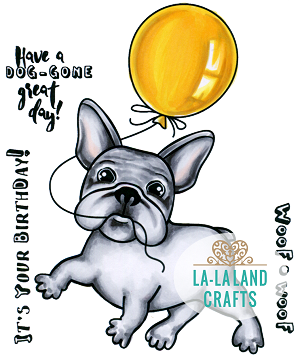 Balloon Frenchie Rubber Stamp