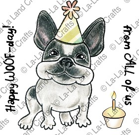 Birthday Frenchie Rubber Stamp