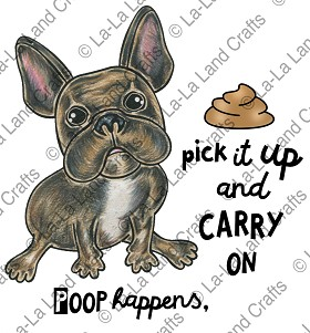 Carry on Frenchie Rubber Stamp