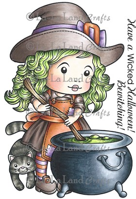 Cauldron Witch Marci Rubber Stamp