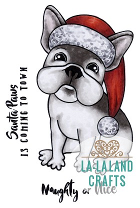 Christmas Frenchie Rubber Stamp