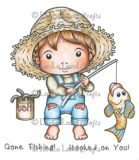 Gone Fishing Luka Rubber Stamp