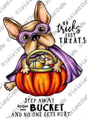 Halloween Frenchie Rubber Stamp
