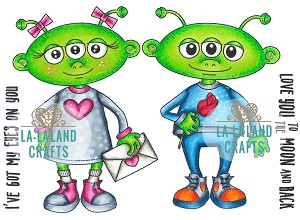 Love Aliens Rubber Stamp