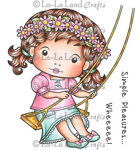 Marci on a Swing Rubber Stamp