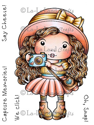 Marci with Camera Rubber Stamp