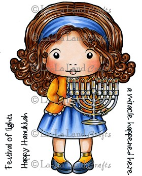 Marci with Menorah Rubber Stamp